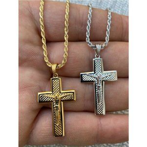 HarlemBling Silver Gold Cross Pendant Necklace